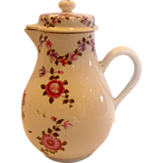 Chinese Export Lidded Syrup Jug Hand Painted Roses Flying Bugs 18th Century c 1770