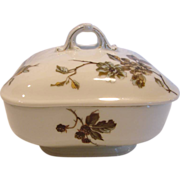 French Haviland Limoges Square Covered Butter Dish w Insert Old Blackberry c 1876 – 1889