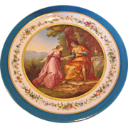 "French Old Paris 14"" Plaque Charger Painted Courting Romantic Couple  c 1850 #2 of 2"