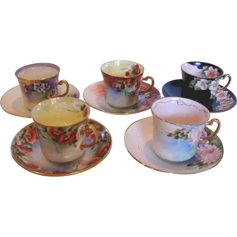 English Staffordshire Set of 5 Artist Signed Hand Painted Signed Different Flowers Berries Cups and Saucers – Poppies, Dahlias, Violets, Pink Apple Blossoms, Red Currants – c 1945 to1948