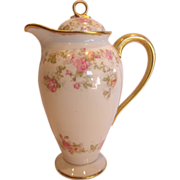 French Limoges Chocolate Pot Pink and Yellow Roses c 1900 - 1914