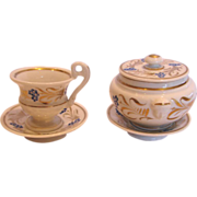French Old Paris Child's Sugar w Heads Plus Matching Tiny Cup & Saucer Hand Painted c 1870 - 1890
