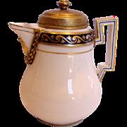 German Meissen Demitasse Chocolate Pot or Hot Milk Jug w Bronze Lid & Bronze Around the Spout Marcolini Period c 1774 - 1817
