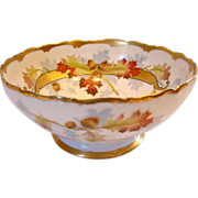 French Limoges Centerpiece or Serving Salad Bowl Hand Painted by Chicago Studio Artist Edith Arno w Autumn Leaves and Acorns c 1907 - 1919