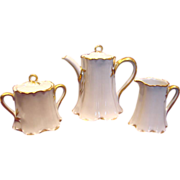 French Haviland Limoges Demitasse Tea Set Ranson White & Gold c 1905 - 1930