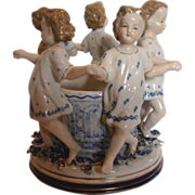 "German Ernst Bohne 7"" Figural Group Little Girls & Wishing Well Applied Flowers c 1878 - 1920"