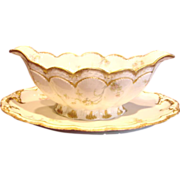French Haviland Limoges Open Sauce Boat Pink Flowers Blue Scrolls Schleiger Pattern Princess 57G c 1893 - 1930