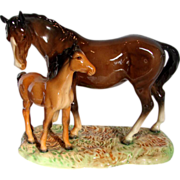 English Beswick England Mare & Foal Figurine Figural Group on Base c 1949 - 1983