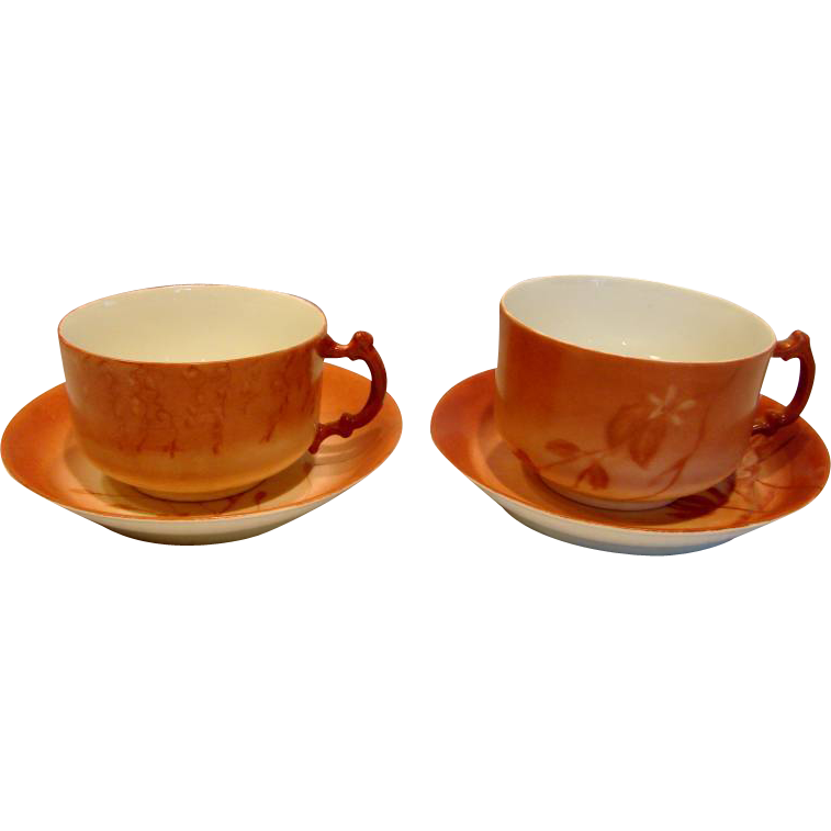 French Haviland Limoges Pair Coffee Cups Scrs One Master One Regular Hand Painted Flowers Leaves Shaded Red c 1888 - 1896