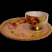 German Meissen Listed American Master Artist Franz Aulich Tea Toast Pedestal Cup Saucer Pink Roses c 1900