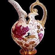 """German Earthenware 12"""" Ewer Vase Hand Painted Purple Flowers Song Birds c 1861 - 1873"""