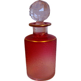 French Baccarat Crystal Art Glass Etched Perfume Scent Bottle Rubena (Rubina) Clear to Red Cranberry c 1890 - 1900