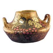 Stellmacher Teplitz Amphora Grape Motif Pottery Handled Vase (c.1905-1910)