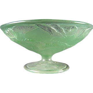 SALE Consolidated Glass Martele Green Wash Fish Design Bowl (c.1920's)