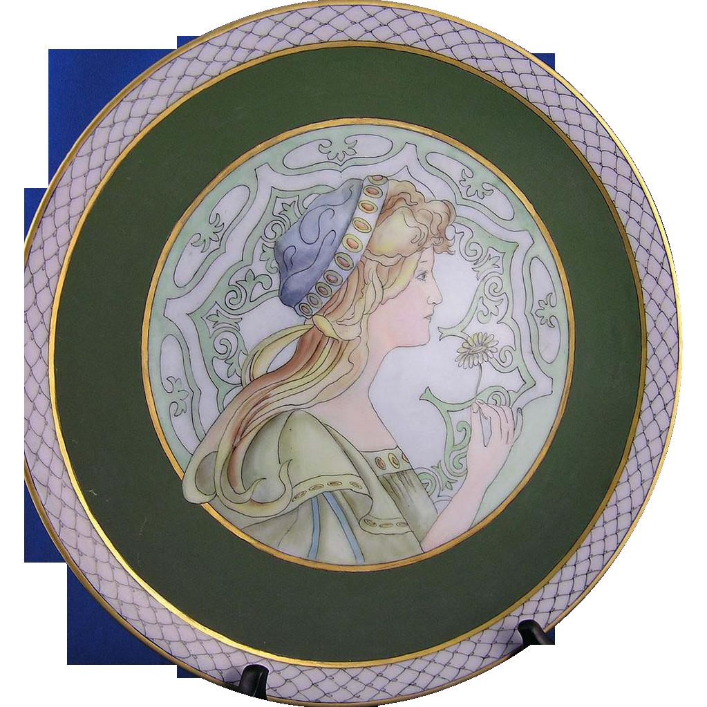 "RS (Reinhold Schlegelmilch) Silesia Art Nouveau ""Springtime"" Mucha Motif Plate (Signed ""Yvette Raymond Oubrem""/c.1904-1938)"