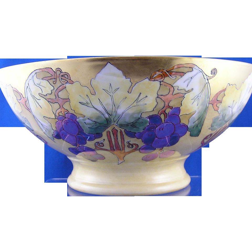 Plainemaison Limoges Arts & Crafts Grape Motif Centerpiece/Punch Bowl (c.1890-1910)