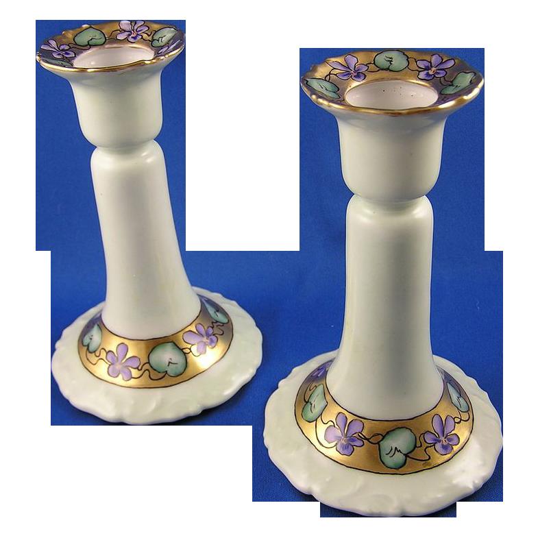 T&V Limoges Violet Motif Candlestick Pair (c.1907-1919)