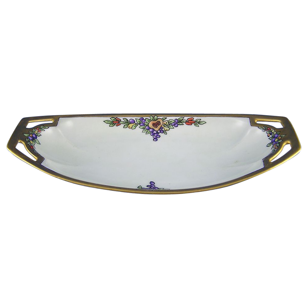 """RS Germany Arts & Crafts Fruit Motif Handled Dish (Signed """"Florence Stogsdill""""/c.1904-1938)"""