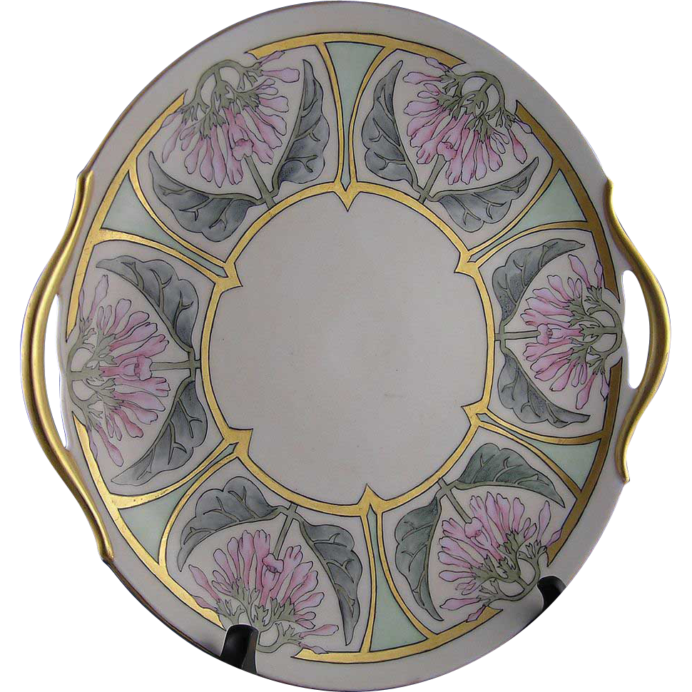 PH Leonard Austria Arts & Crafts Floral Motif Handled Serving Plate (Signed/c.1890-1908)