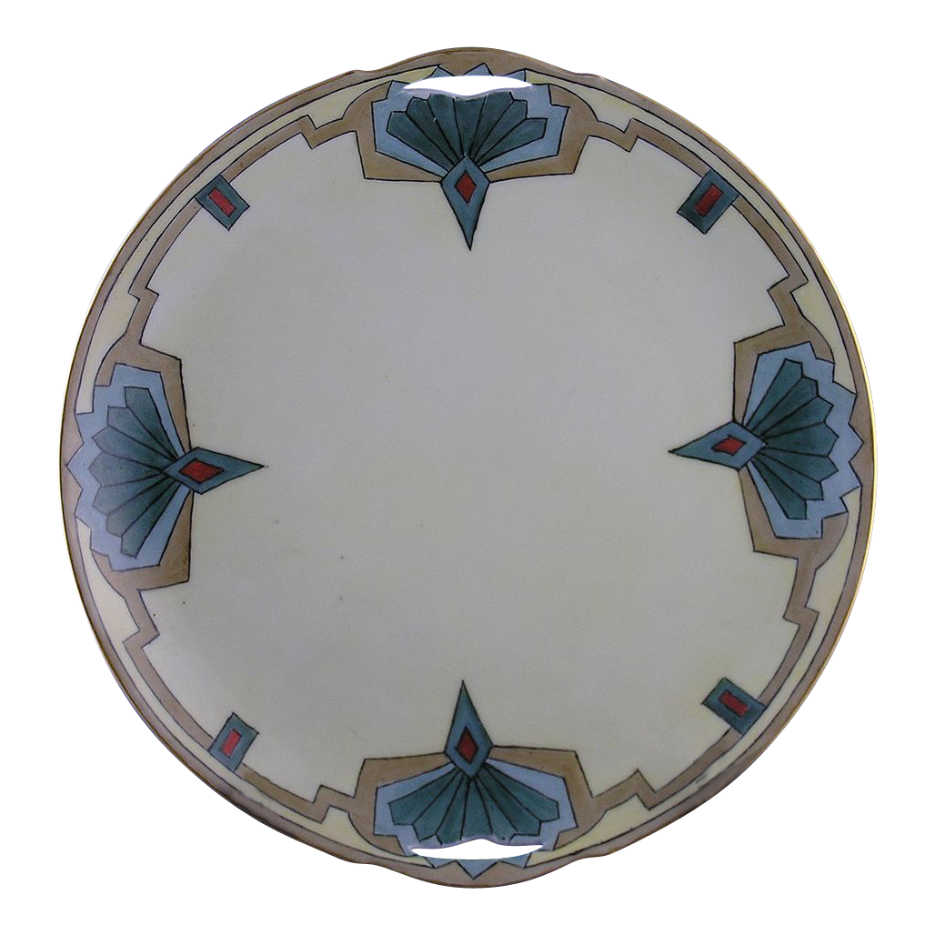 "Krister Porcelain Manufactory (KPM) Silesia Art Deco Handled Cake Plate (Signed ""HJ Moore""/c.1904-1927)"
