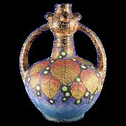 Czechoslovakia Amphora Arts & Crafts Berry Motif Handled Vase (c.1918-1936)