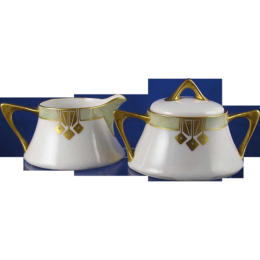 "Zeh, Scherzer & Co. (ZS&Co.) Bavaria Art Deco Creamer & Sugar (Signed ""Hildegard""/Dated 1932)"