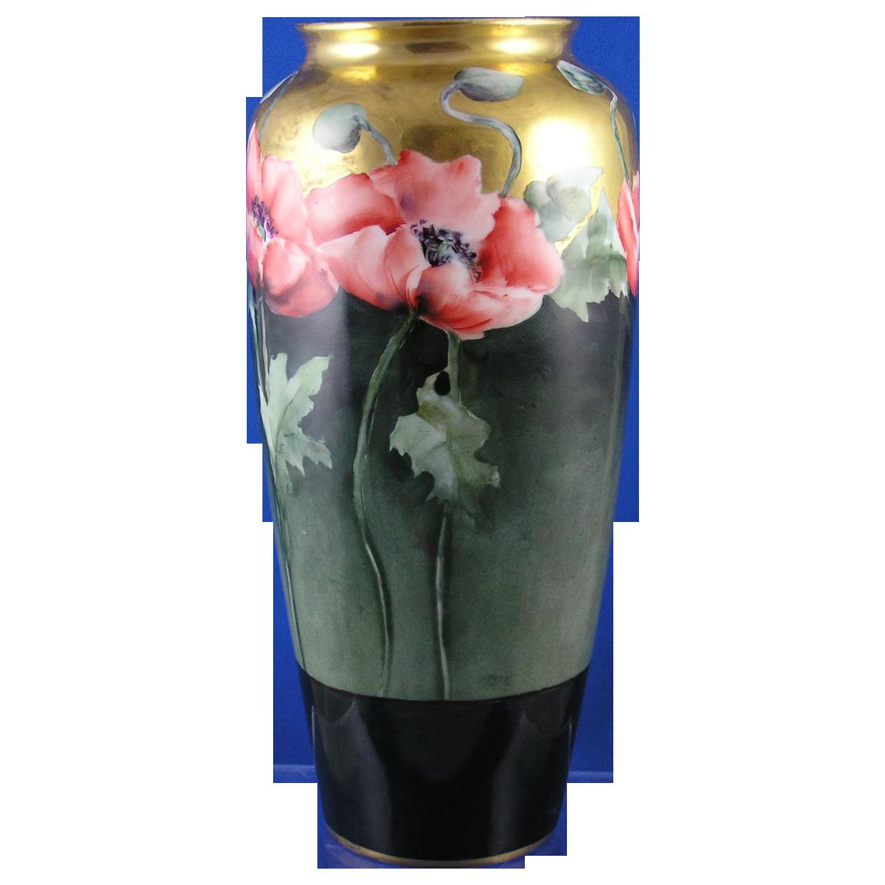 Rosenthal Bavaria Arts & Crafts Poppy Motif Vase (c.1901-1940)