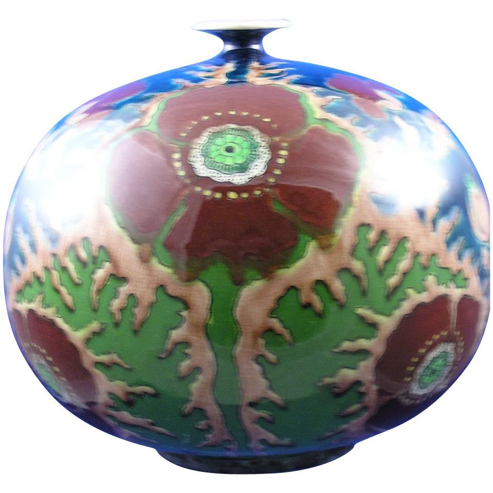 Royal Bonn Germany Old Dutch Art Nouveau Poppy Motif Vase (c.1890-1923)