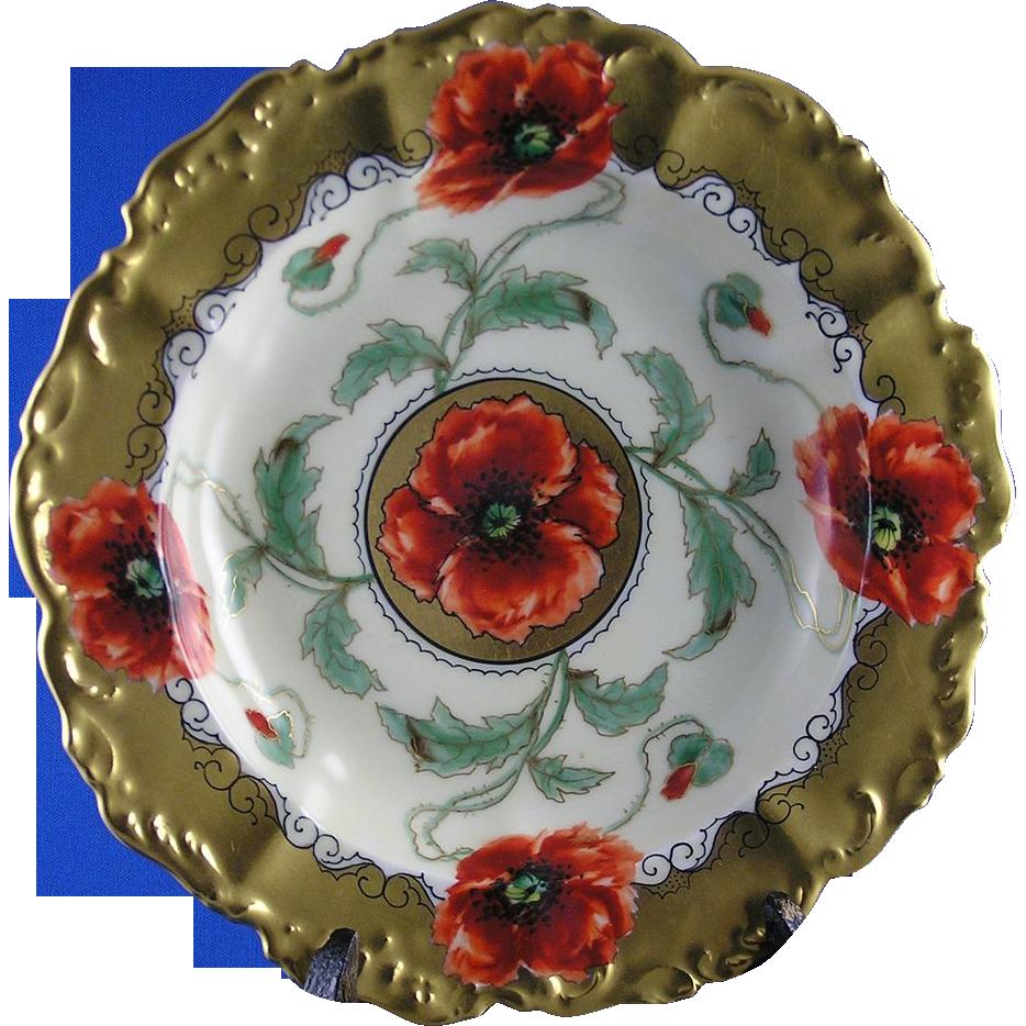 """T&V Limoges Pickard Studios Poppy Design Dish/Bowl (Signed """"Loh"""" for John Loh/c.1905-1910)"""