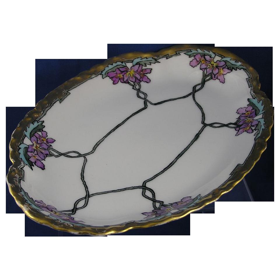 """Haviland Limoges Arts & Crafts Violet Motif Tray (Signed """"J.E.H.""""/c.1894-1931)"""