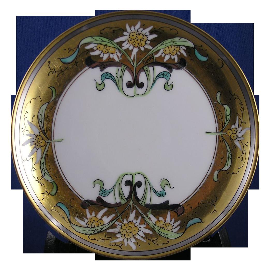 "Stouffer Studios Haviland Limoges ""Edelweiss"" Design Plate (Signed ""Bardos"" for Isadore Bardos/c.1906-1914)"