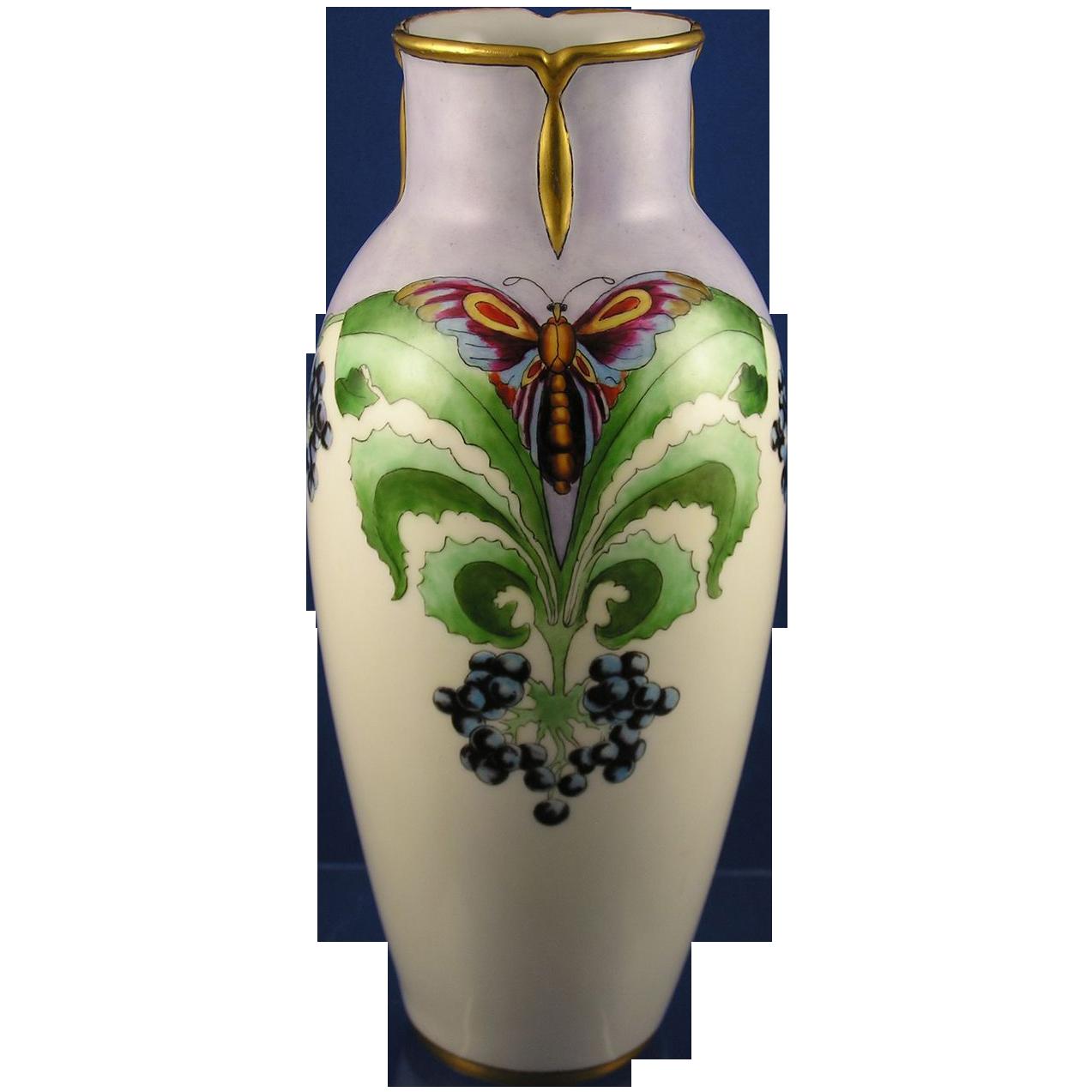 """Bavaria Art Deco Butterfly & Berry Design Vase (Signed """"Norene""""/c.1910-1930)"""