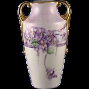 """H. Wehinger Czechoslovakia Violet Motif Vase (Signed """"Myrtle""""/c.1905-1945)"""