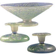 "Consolidated Glass Green Wash ""Orchid"" Design Centerpiece Bowl & Candlesticks Set (c.1920's)"