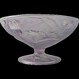 SALE Consolidated Glass Co. Martele Purple Wash Gold Fish Design Bowl/Compote (c. 1920's)