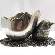 SALE Victorian Silver Open Figural Salt Cellar Bird Chick with Half Hatched Egg