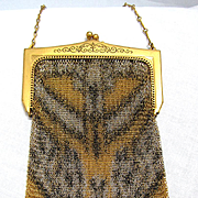 SALE Whiting and Davis Dresden Mesh Art Deco Handbag with Fringe