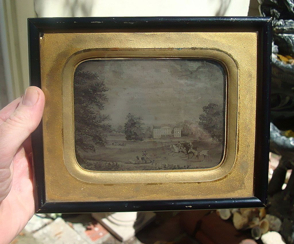 1850's Ambrotype of English Estate Fox Hunting