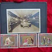 1880's Tiffany Store Cabinet Photo w/ Tiffany Victorian Store Trade Cards
