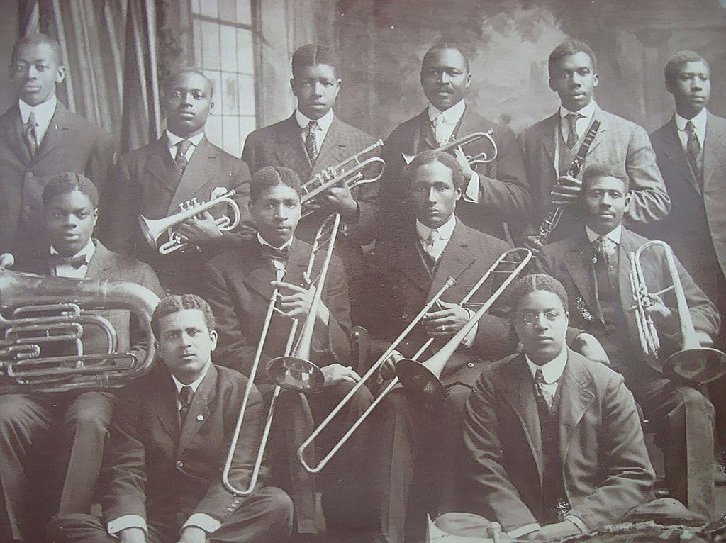 Vintage Photo of all African-American Black Brass Band
