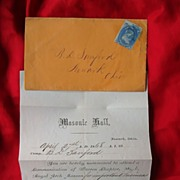 Early Masonic Ephemera 1805 Broadside Stampless Letter & Newark,Ohio Order
