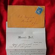 Early Masonic Ephemera 1805 Broadside Stampless Letter & Newark,Ohio Order