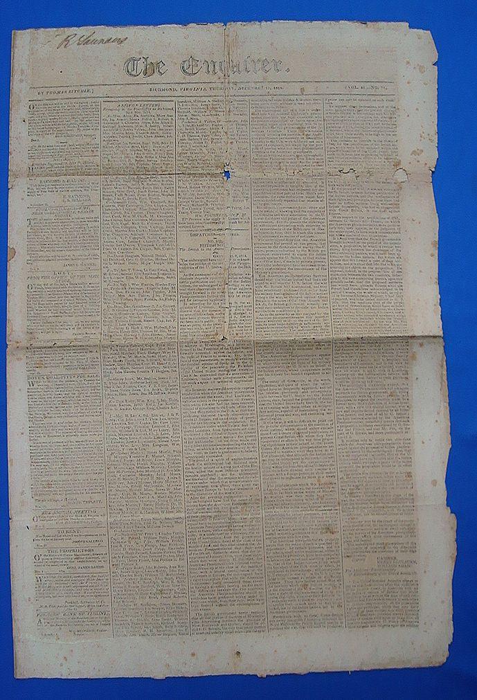 1814 Richmond,Va. Enquirer Newspaper~John Quincy Adams Henry Clay & Slavery