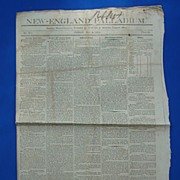 Original New England Pallidum Newspaper May 8 1812