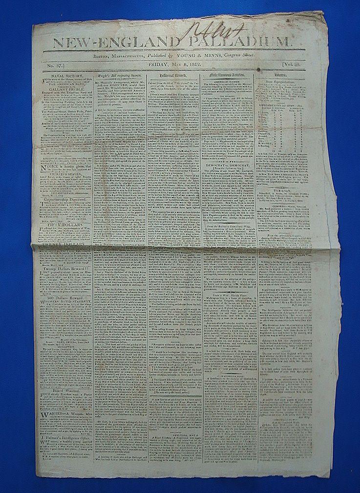 Original New England Pallidum Newspaper May 8 1812
