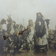 STRANGE 1890's  Photo of Fort Belknap,Montana Indian July 4th Dance
