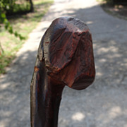 Folk Art Cane with Dog's Head