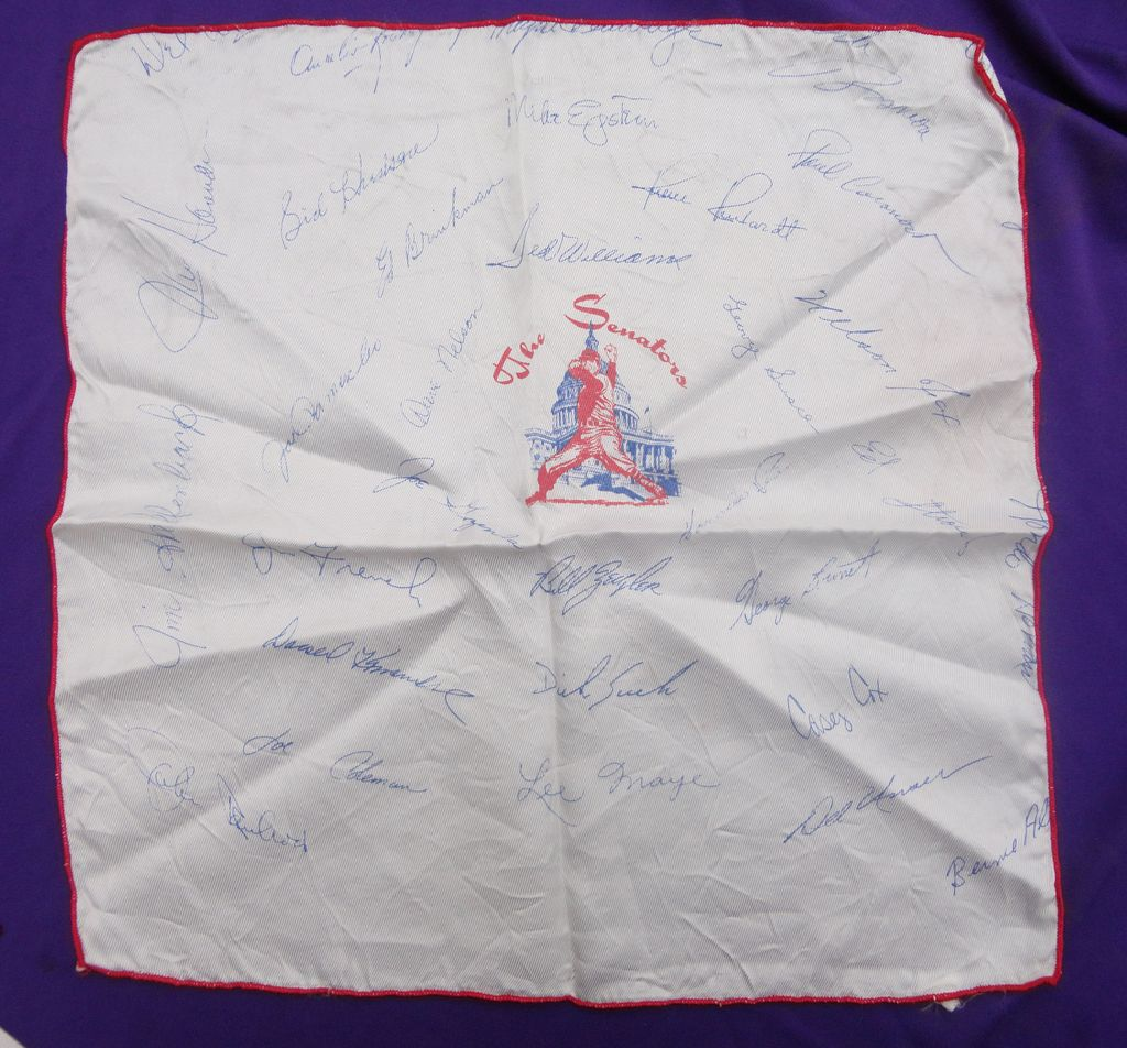 1969 Washington Senators Baseball Silk Team handkerchief Ted Williams