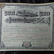 1897 SteamBoat License Certificate John Cox Cincinnati,Ohio
