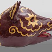 SALE PENDING Depression era Folk Art Paper-Mache Decorated Pig's Head